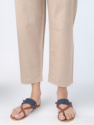 Beige Tie-up Waist Cotton Slub Pants