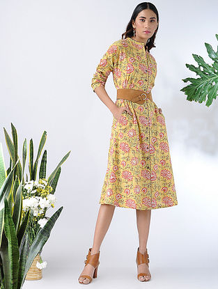 Yellow-Red Front-open Block-printed Cotton Dress with Pockets