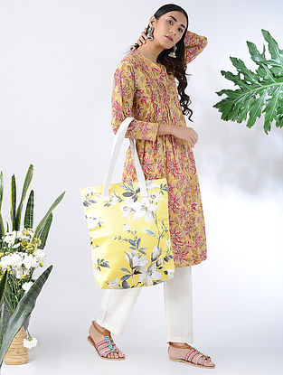 Yellow-Red Block-printed Cotton Kurta with Pleats