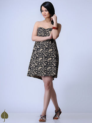Black Knitted Kalamkari Cotton Modal Dress with Zari Detail by Jaypore