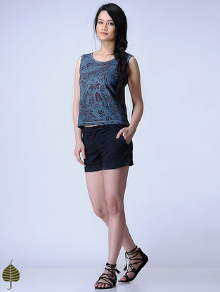 Indigo Knitted Block-printed Cotton Modal Top with Zari Detail by Jaypore