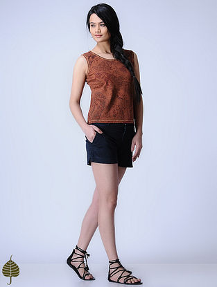 Madder Knitted Block-printed Cotton Modal Top with Zari Detail by Jaypore