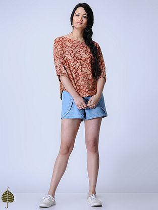 Madder Knitted Kalamkari Cotton Modal Top with Zari Detail by Jaypore