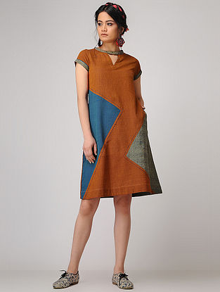 Mustard-Blue Handloom Cotton Shift Dress with Pockets