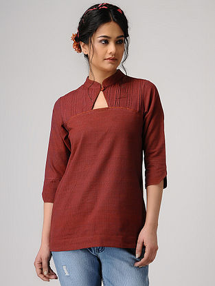 Maroon Handloom Cotton Top with Pleats