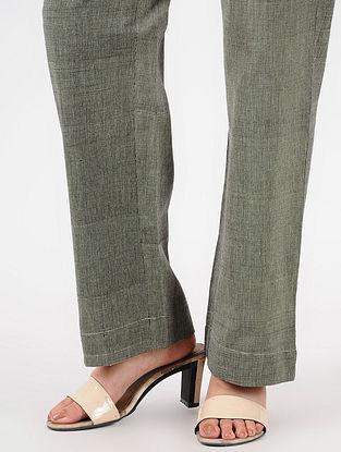 Black Tie-up Waist Handloom Cotton Pants