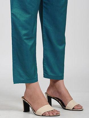 Teal Tie-up Waist Cotton Pants