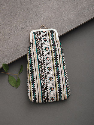 Multicolored Printed Canvas Pouch