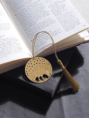 Dancing Peacock Gold Plated Brass Bookmark