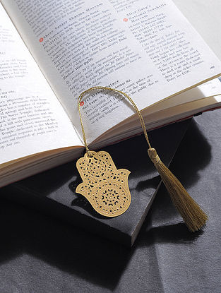 Six Stones Gold Plated Brass Bookmark