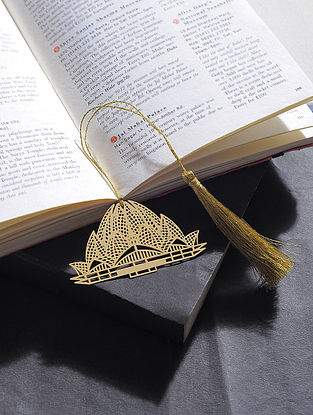 Lotus Temple Gold Plated Brass Bookmark