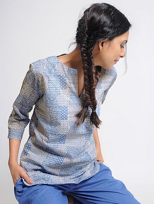 Blue Printed Cotton Top by Jaypore