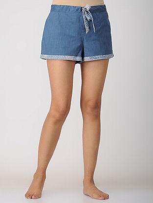 Blue Elasticated-waist Cotton Shorts by Jaypore