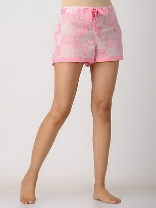 Pink Elasticated-waist Printed Cotton Shorts by Jaypore
