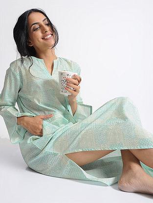 Green Printed Cotton Hangout Kaftan with Pockets by Jaypore