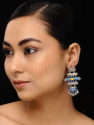 Blue-Yellow Silver Tone Handcrafted Earrings with Ghungroo