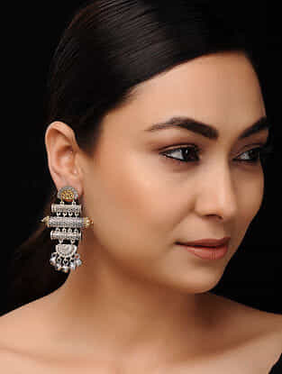 Classic Dual Tone Handcrafted Earrings with Ghungroo