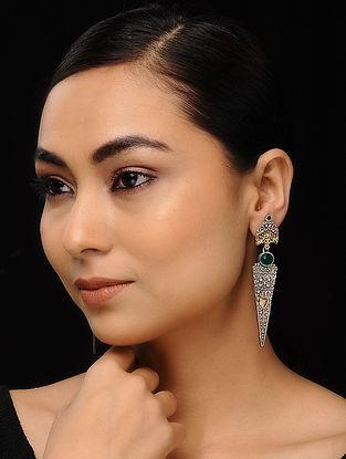Green Dual Tone Handcrafted Earrings