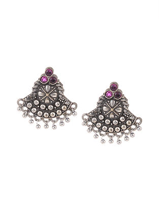 Pink Silver Tone Handcrafted Stud Earrings