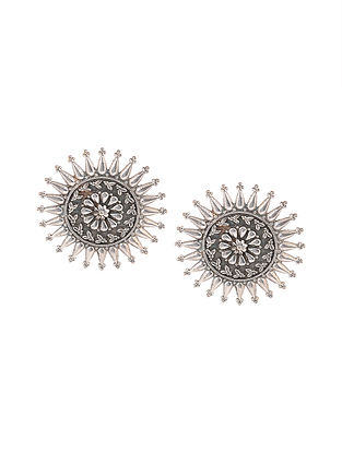 Classic Silver Tone Handcrafted Stud Earrings