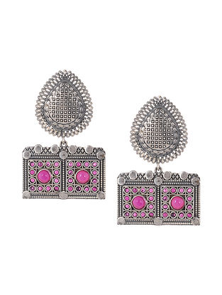 Pink Silver Tone Handcrafted Earrings