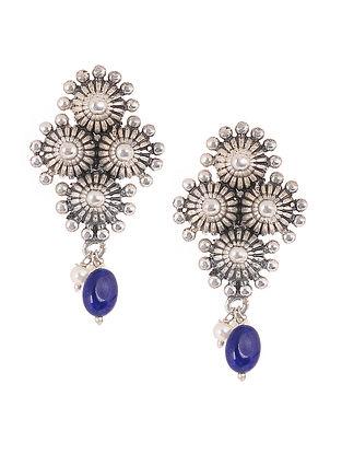 Blue Silver Tone Handcrafted Stud Earrings