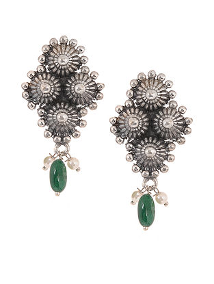 Green Silver Tone Handcrafted Stud Earrings