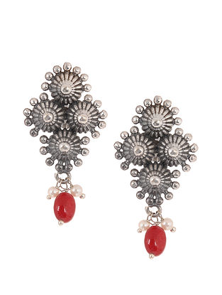 Red Silver Tone Handcrafted Stud Earrings