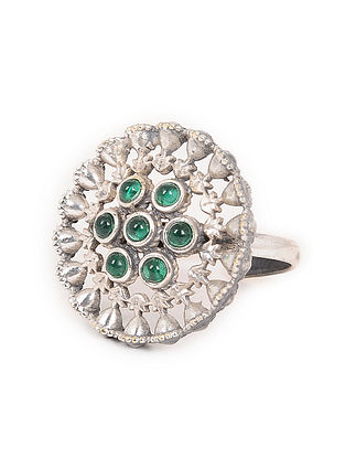 Green Silver Tone Handcrafted Adjustale Ring