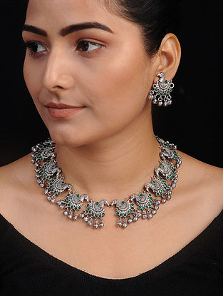 Green Silver Tone Handcrafted Necklace with Earrings (Set of 2)