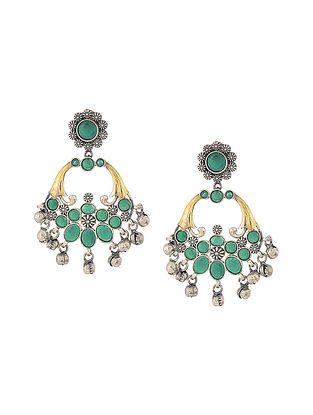 Green Dual Tone Handcrafted Earrings with Ghungroo