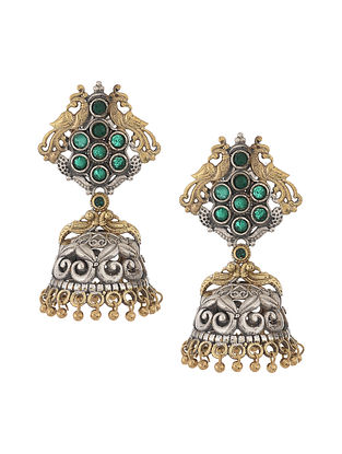 Green Dual Tone Handcrafted Jhumkis