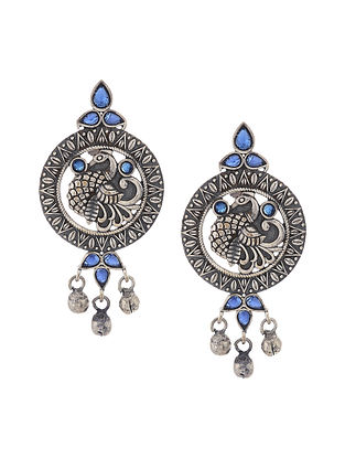 Blue Silver Tone Handcrafted Earrings with Ghungroo