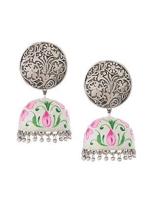 White Silver Tone Handcrafted Jhumkis