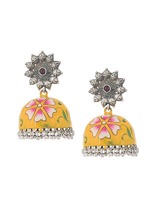 Yellow Silver Tone Handcrafted Jhumkis