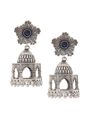Blue Silver Tone Handcrafted Jhumkis