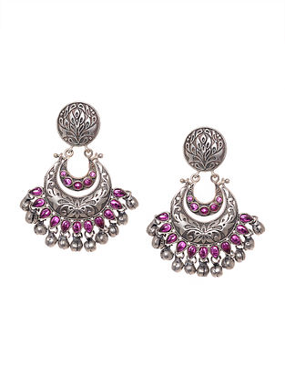 Pink Silver Tone Handcrafted Earrings with Ghungroo