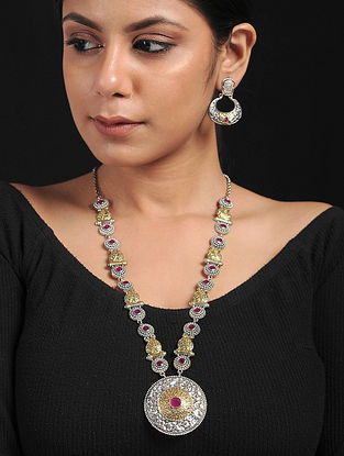Pink Dual Tone Handcrafted Necklace with Earrings (Set of 2)