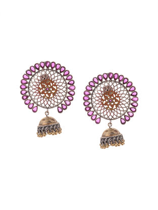 Pink Silver Tone Handcrafted Jhumkis