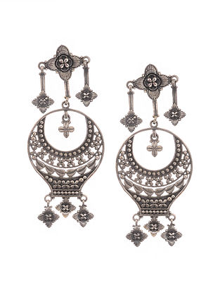 Classic Silver Tone Handcrafted Earrings