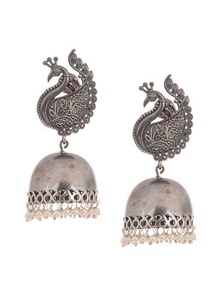 Classic Silver Tone Handcrafted Jhumkis