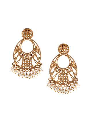 Gold Tone Handcrafted Chaandbali Earrings with Pearls