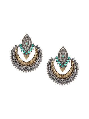 Green Dual Tone Handcrafted Chaandbali Earrings
