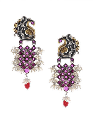 Red Dual Tone Handcrafted Earrings with Pearls