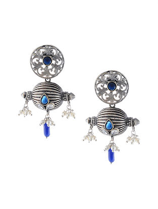 Blue Silver Tone Handcrafted Earrings with Pearls