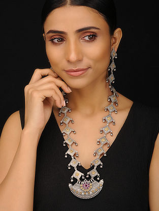 Dual Tone Handcrafted Necklace with Earrings (Set of 2)