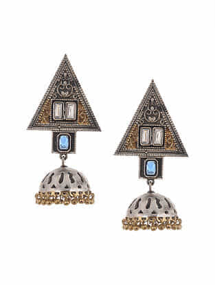 Blue Dual Tone Jhumki Earrings