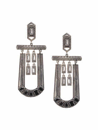 Black Silver Tone Handcrafted Earrings