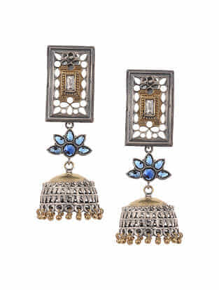 Blue Dual Tone Handcrafted Jhumki Earrings