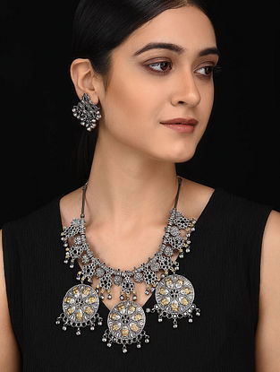 Black Dual Tone Handcrafted Necklace with Earrings (Set of 2)